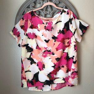 🍬 Ava & Viv  pink floral short sleeve blouse